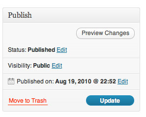 Update Button on WordPress Pages