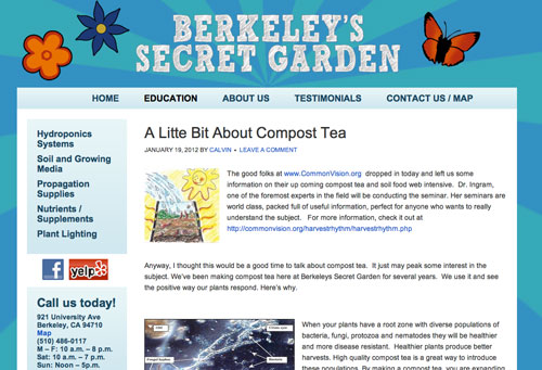 WordPress Blog Post about Compost Tea